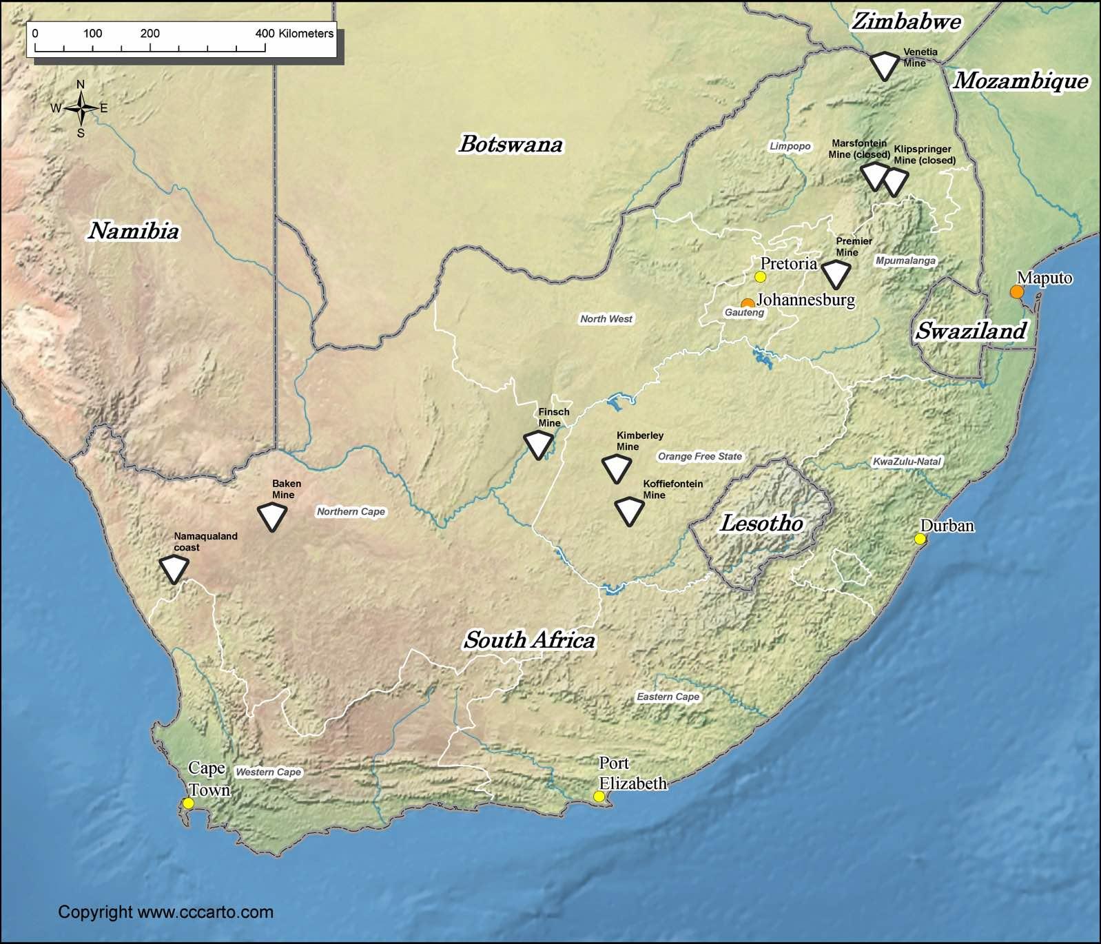 South Africa Diamond Mines Map