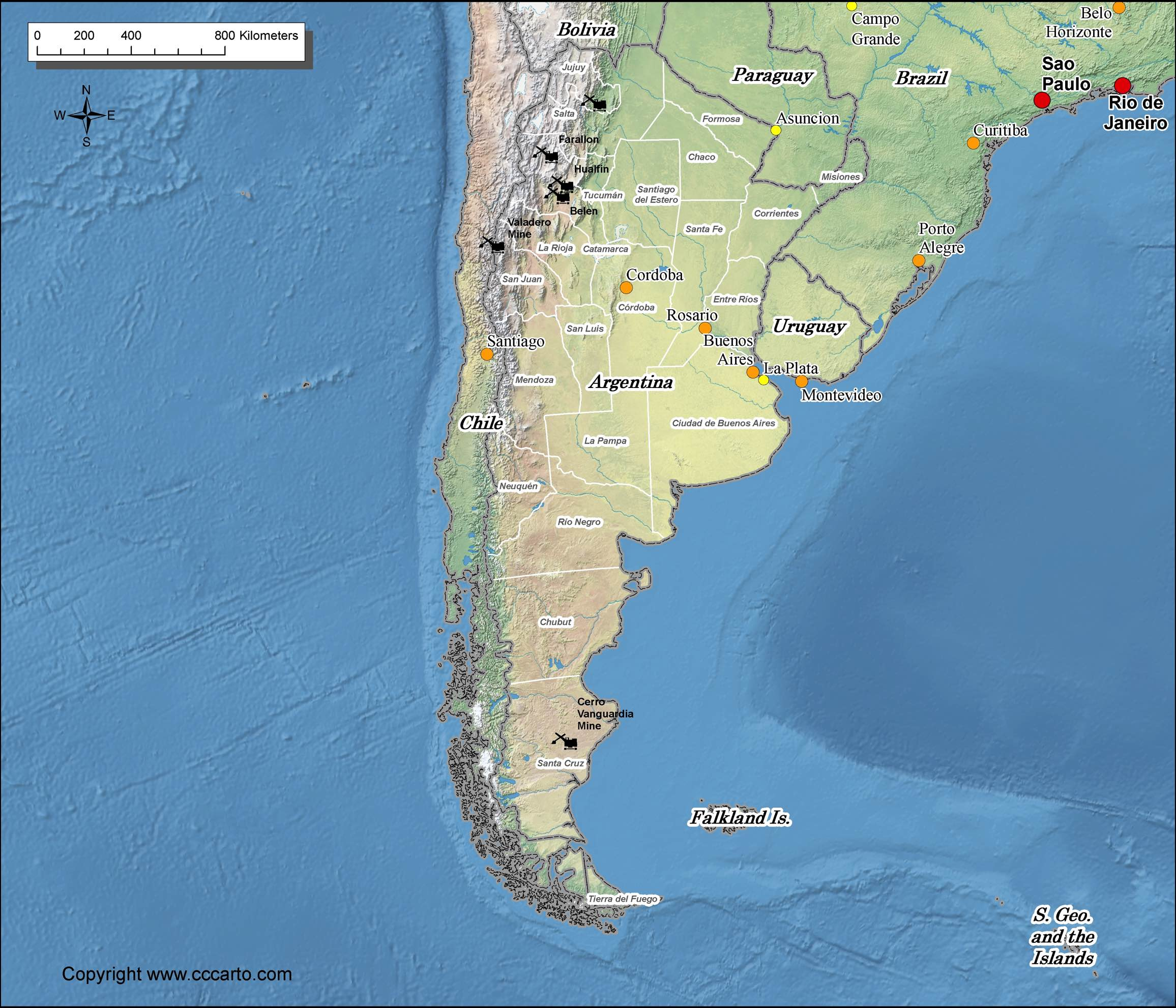 Gold Mines In World Map.Argentina Gold Mines Map World Gold Mines