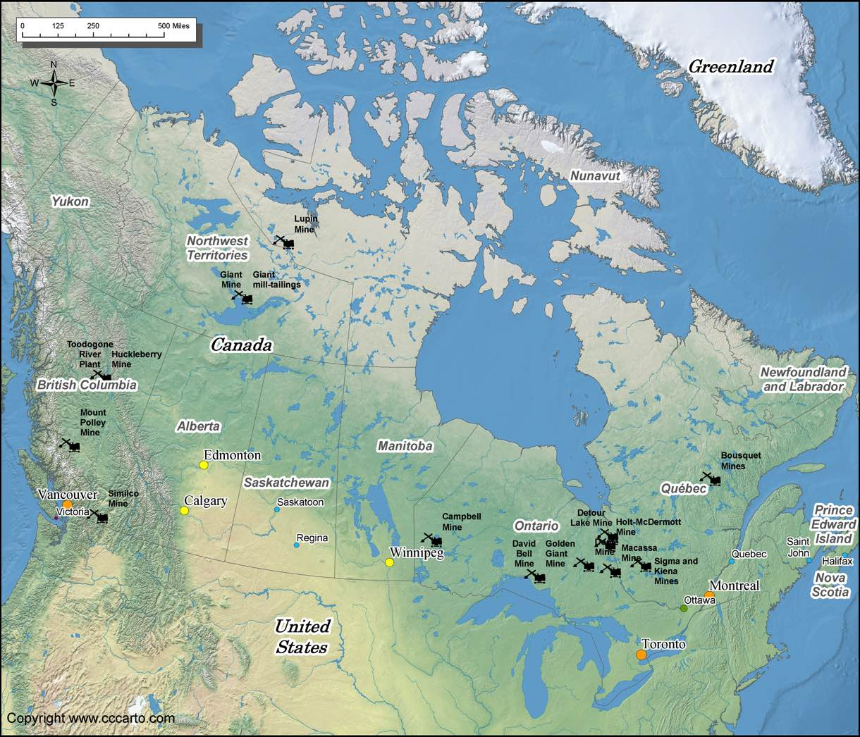 Canada Gold Mines Map – Map of World Canada