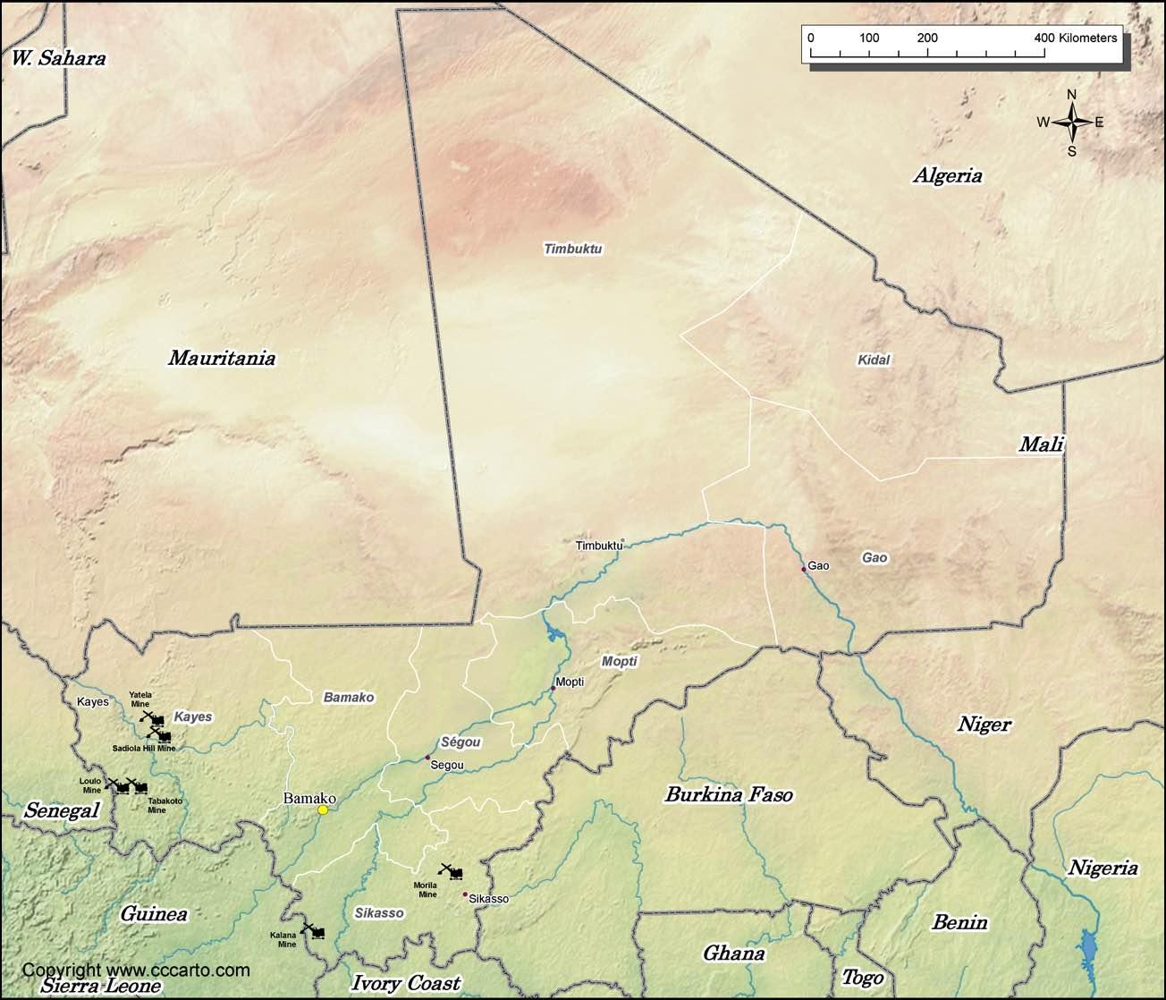 Mali Gold Mines Map World Gold Mines