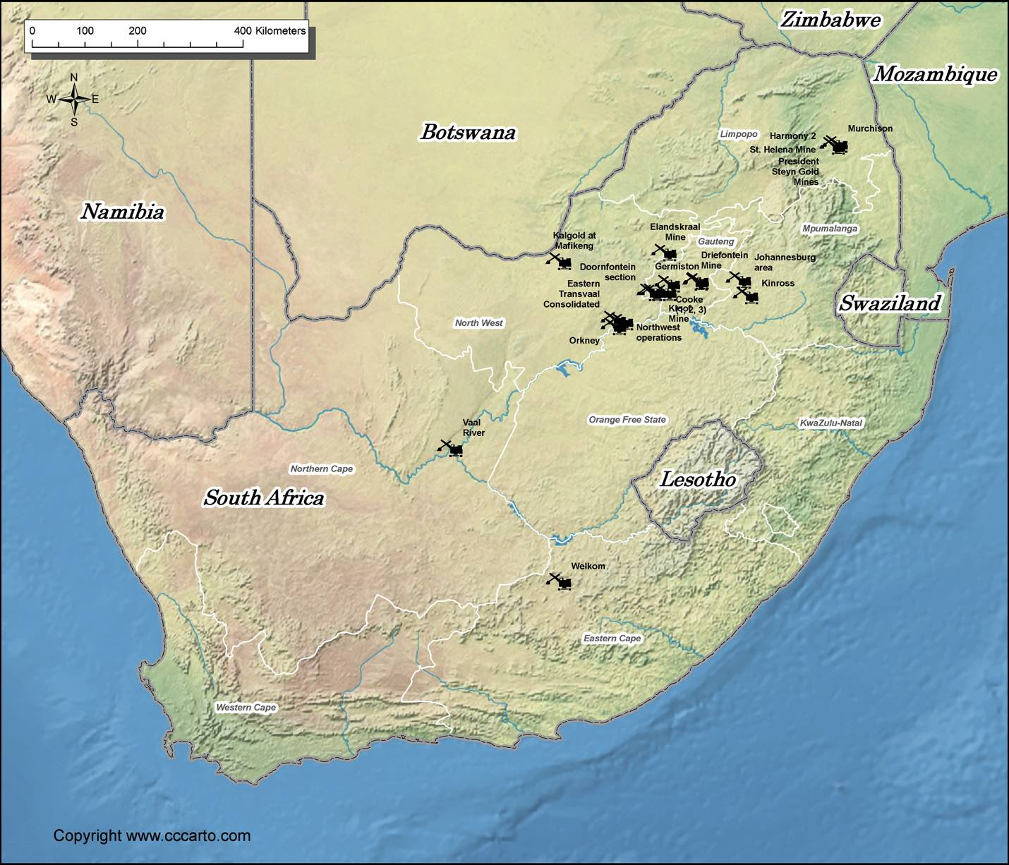 South Africa Gold Mines Map | World Gold Mines