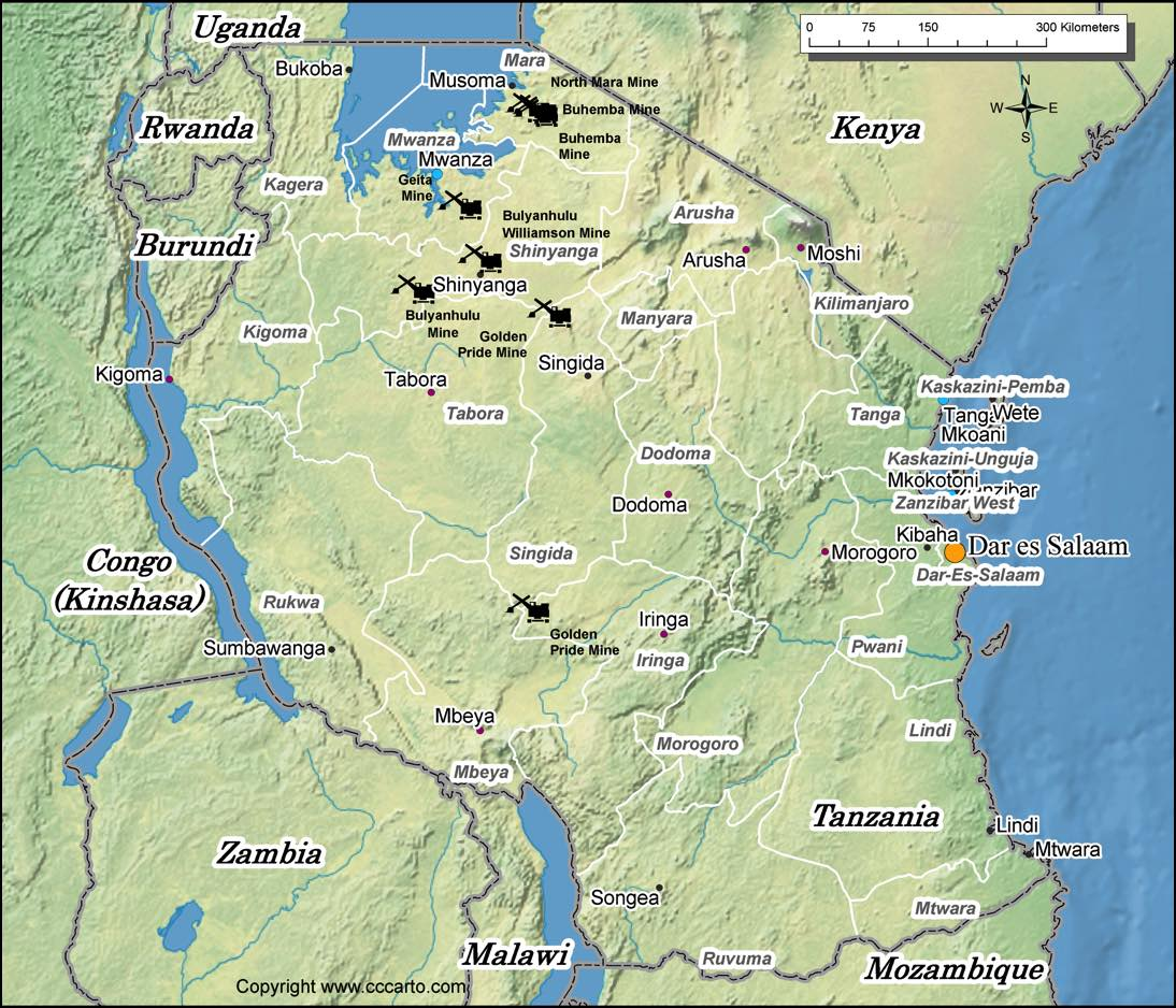 Tanzania gold mines map world gold mines tanzania gold mines map gumiabroncs Image collections