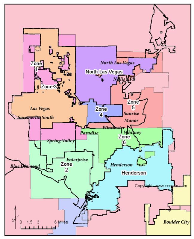 Las Vegas Metropolitan Area: Las Vegas Area Ambulance Contract Map