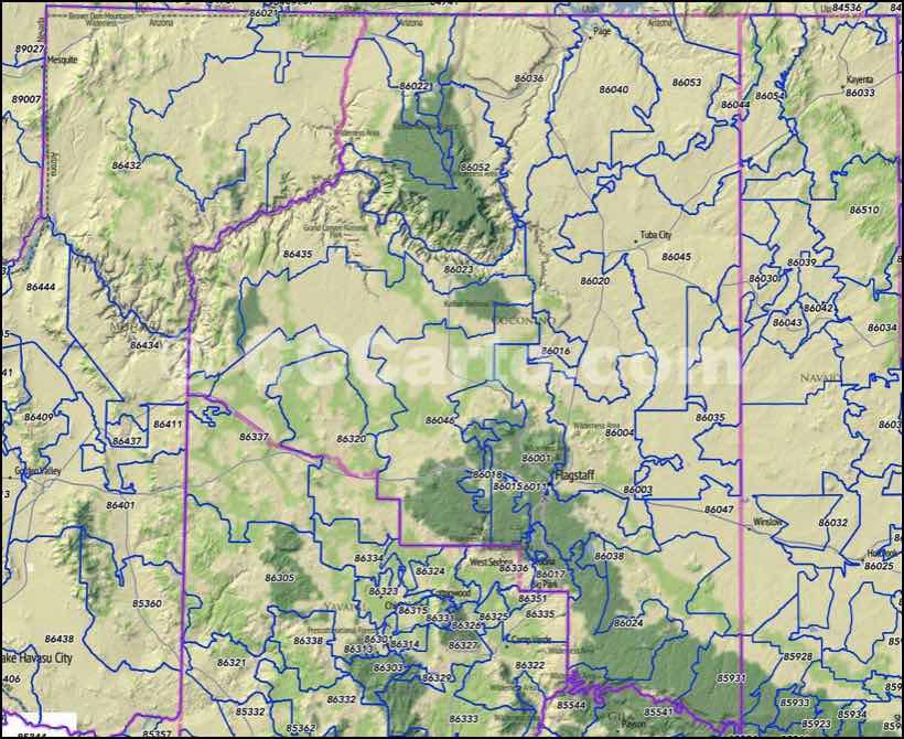 Flagstaff Zip Codes Coconino County Zip Code Boundary Map