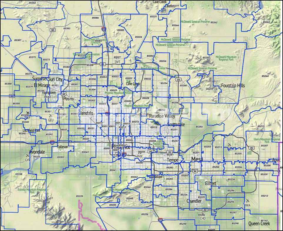 Phoenix Az Zip Codes Scottsdale And Tempe Zip Code Boundary Map