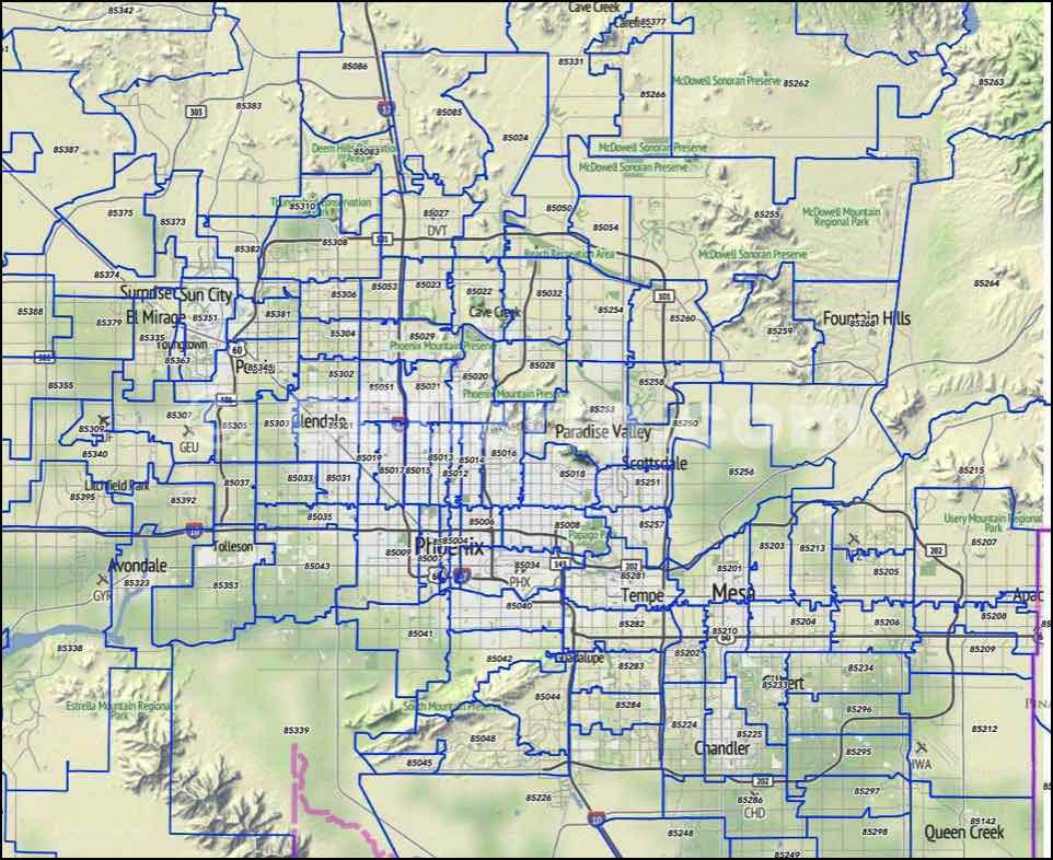 Sun City West Az >> Phoenix, AZ Zip Codes - Scottsdale and Tempe Zip Code Boundary Map