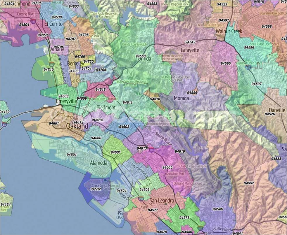 Oakland Ca Zip Codes Alameda County Zip Code Boundary Map