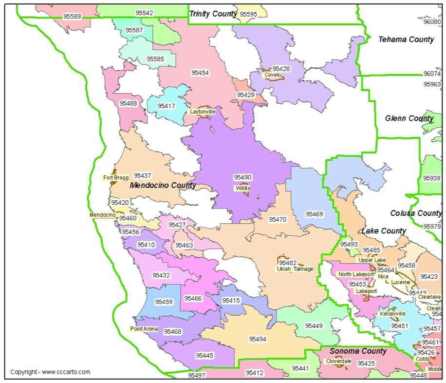Mendocino Zip Codes Mendocino County Zip Code Boundary Map