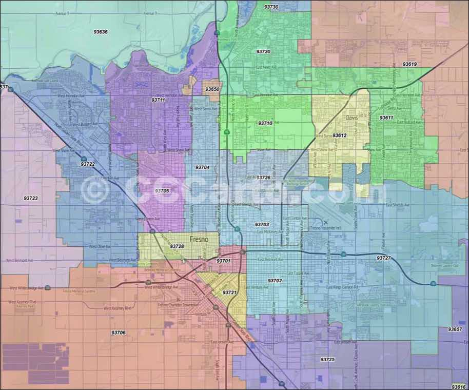Fresno County Zip Codes Fresno Ca Zip Code Boundary Map