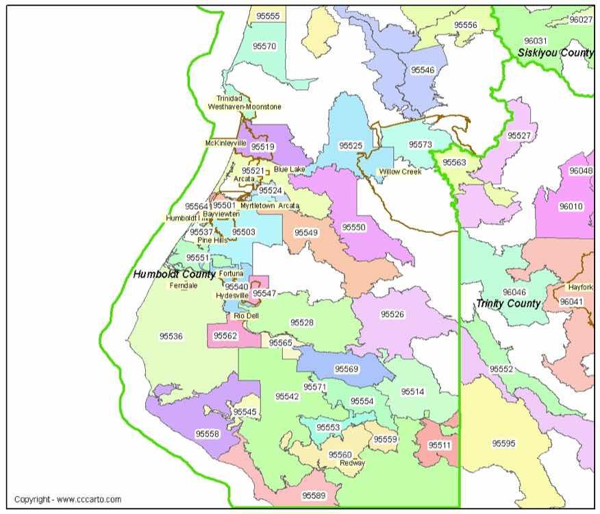 Arcata Zip Code Map Humboldt County CA Zip Codes