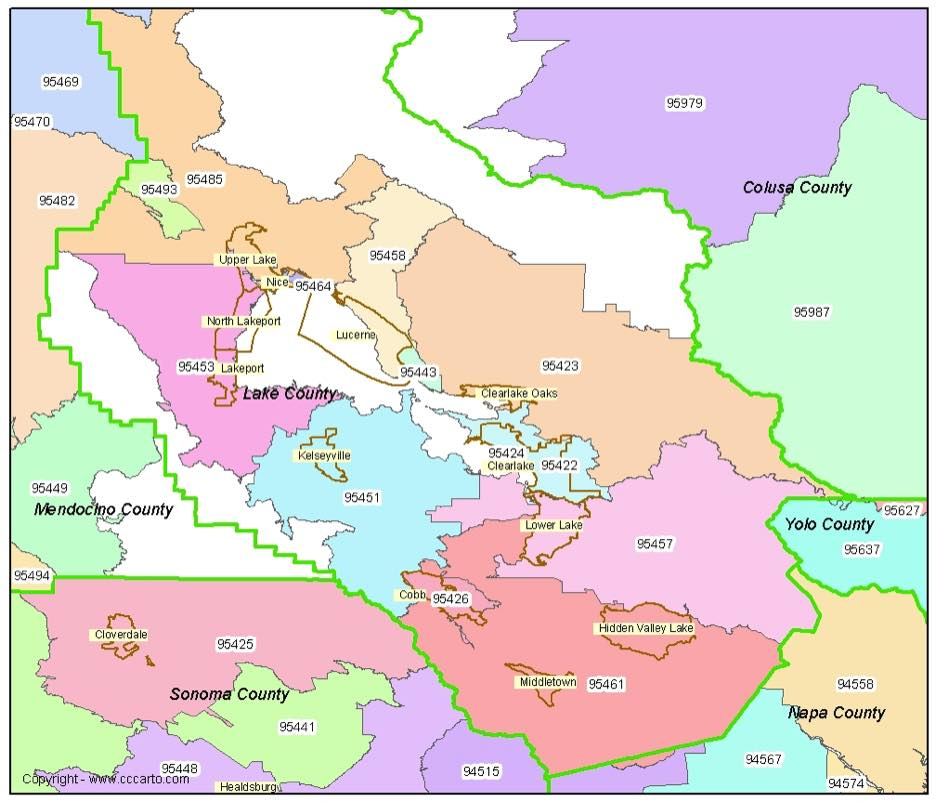 Lake County, CA Zip Codes - Clearlake, CA Zip Code Boundary Map on