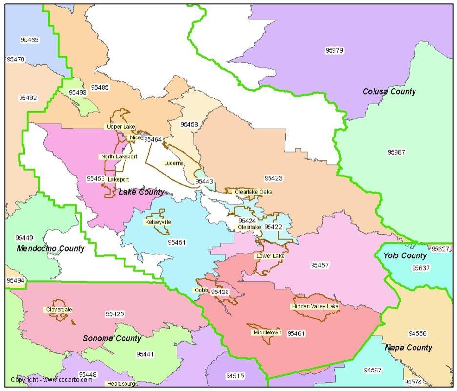 Lake County CA Zip Codes Clearlake CA Zip Code Boundary Map - A california zip code