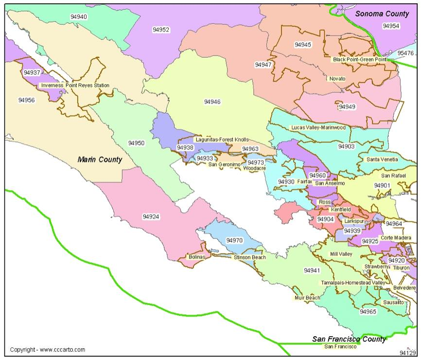 san rafael zip code map San Rafael Ca Zip Codes Marin County Zip Code Boundary Map
