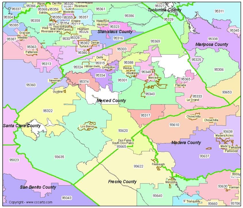 Merced County Zip Code Map