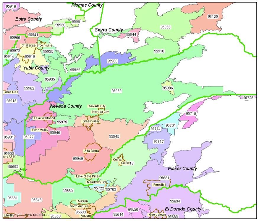 Nevada County Zip Code Map Nevada City Zip Codes