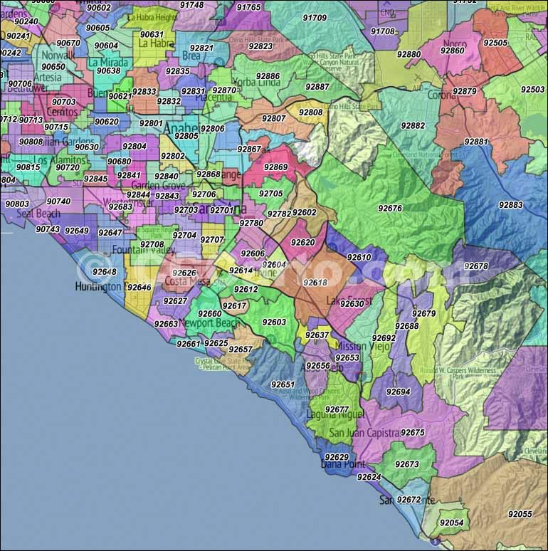 Orange County CA Zip Codes Orange Zip Code Boundary Map - Ca county map
