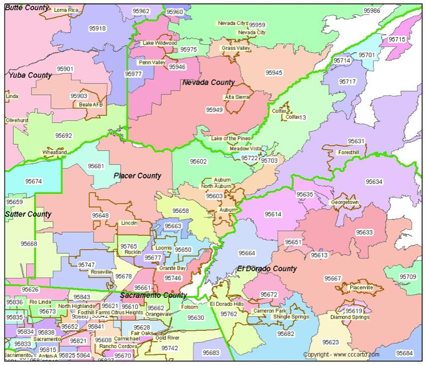 Placer County Zip Code Map Auburn Ca Zip Codes