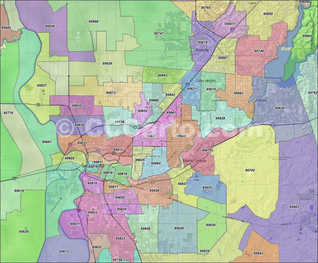 Sacramento Zip Codes Citrus Heights Zip Code Boundary Map