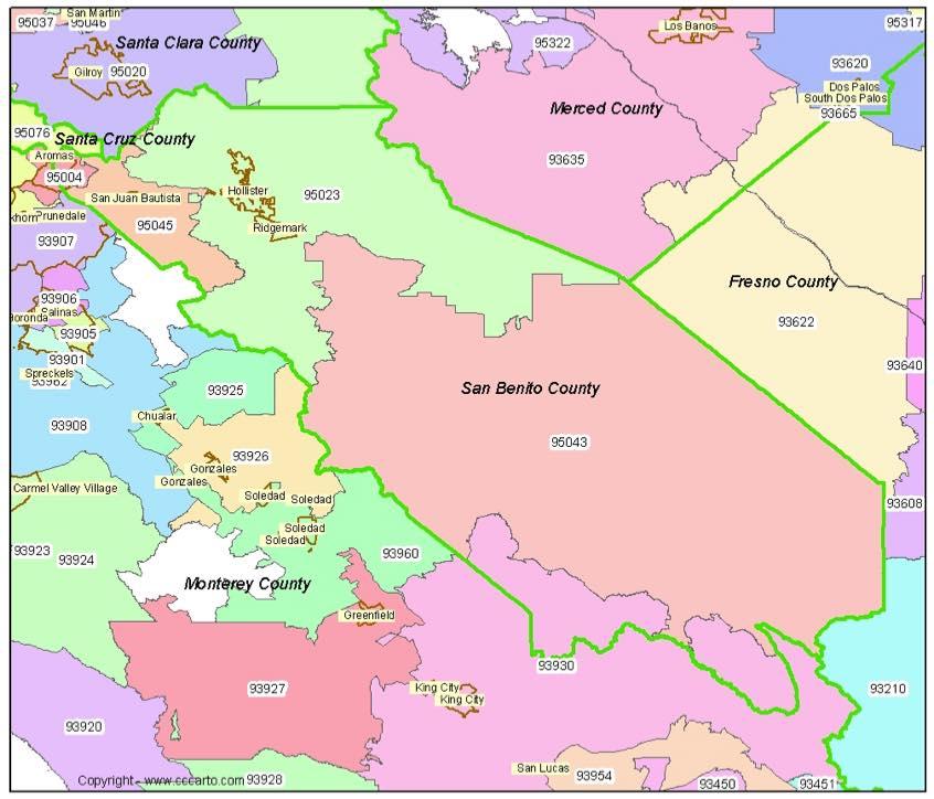 San Benito Co Zip Codes - Hollister, CA Zip Code Boundary Map