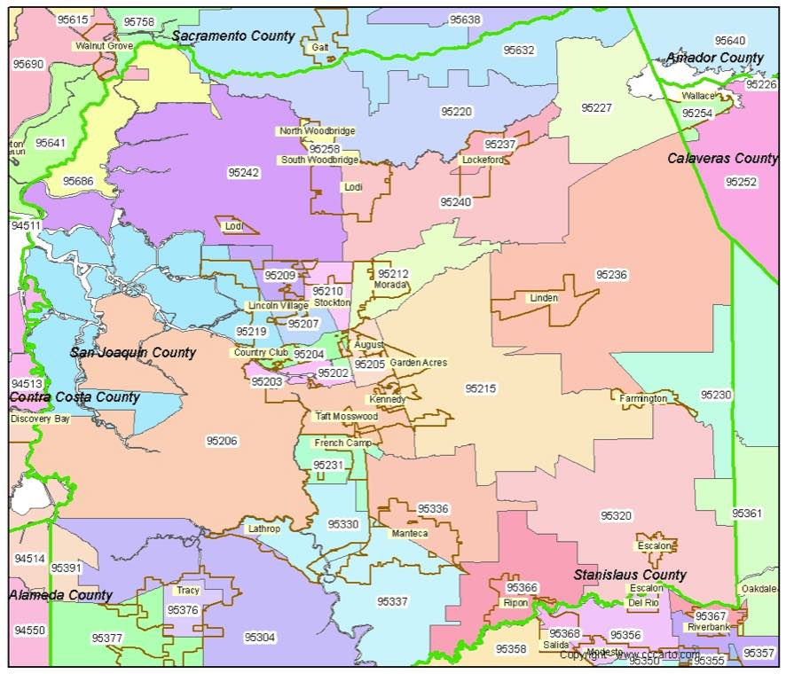 Stockton, CA Zip Code Map - San Joaquin County Zip Codes