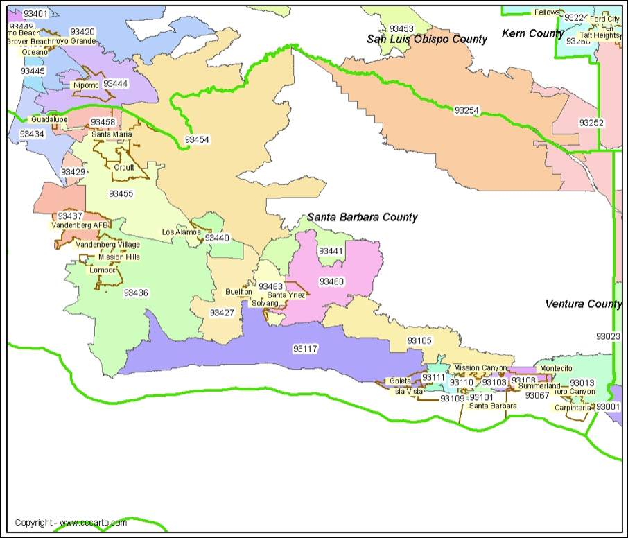 santa barbara ca zip code map Santa Barbara Ca Zip Codes