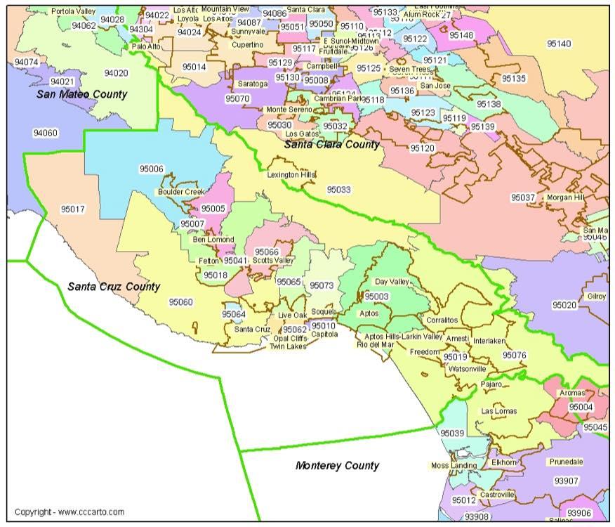 Santa Cruz County Zip Codes - A california zip code