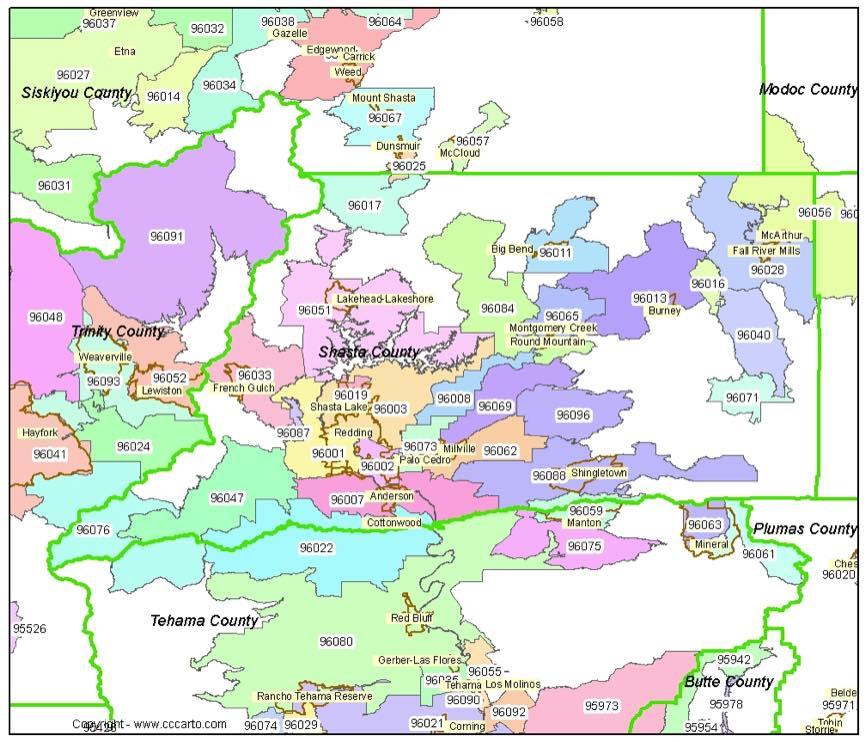 Shasta County Zip Code Map