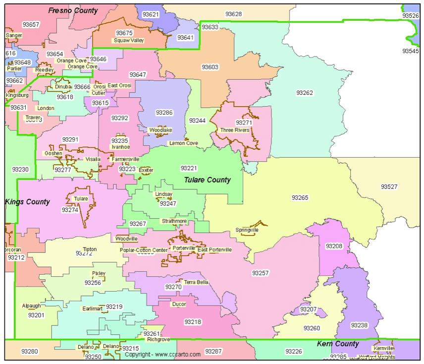Tulare County Zip Codes Tulare Ca Zip Code Boundary Map
