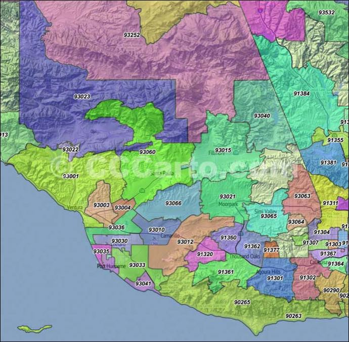 Ventura Ca Zip Codes Ventura County Zip Code Boundary Map