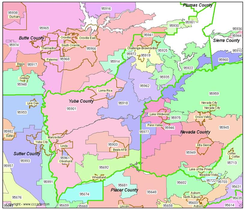 Yuba County Zip Codes Marysville Ca Zip Code Boundary Map