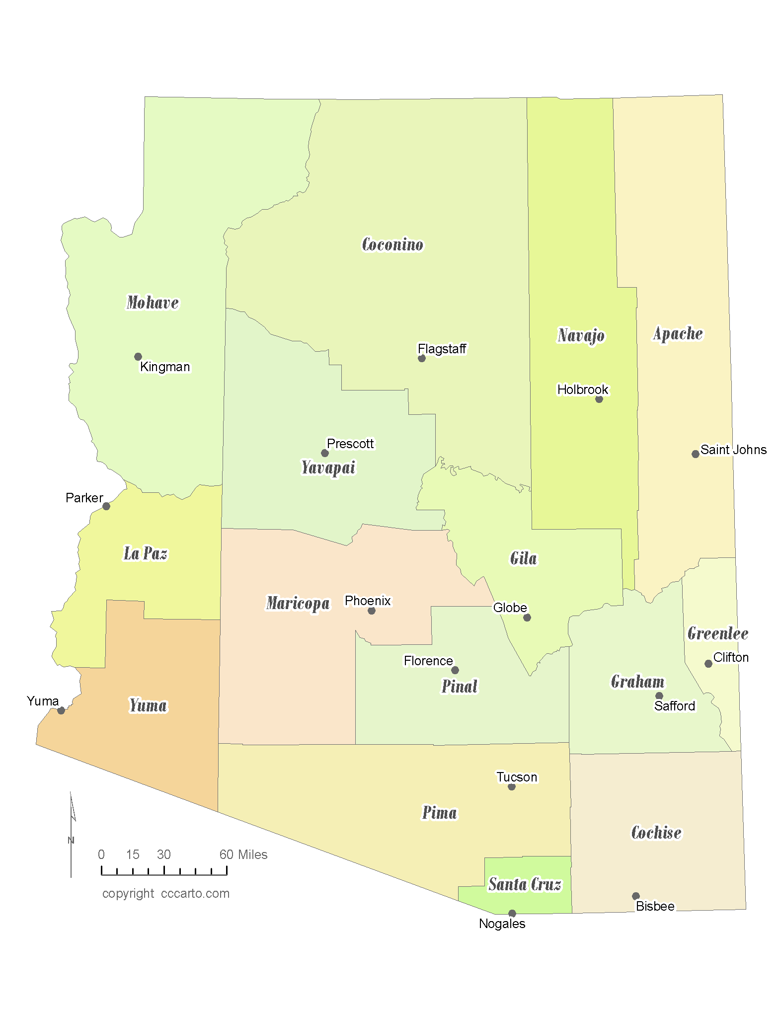 Map Of Arizona By County.State Of Arizona County Map With The County Seats Cccarto