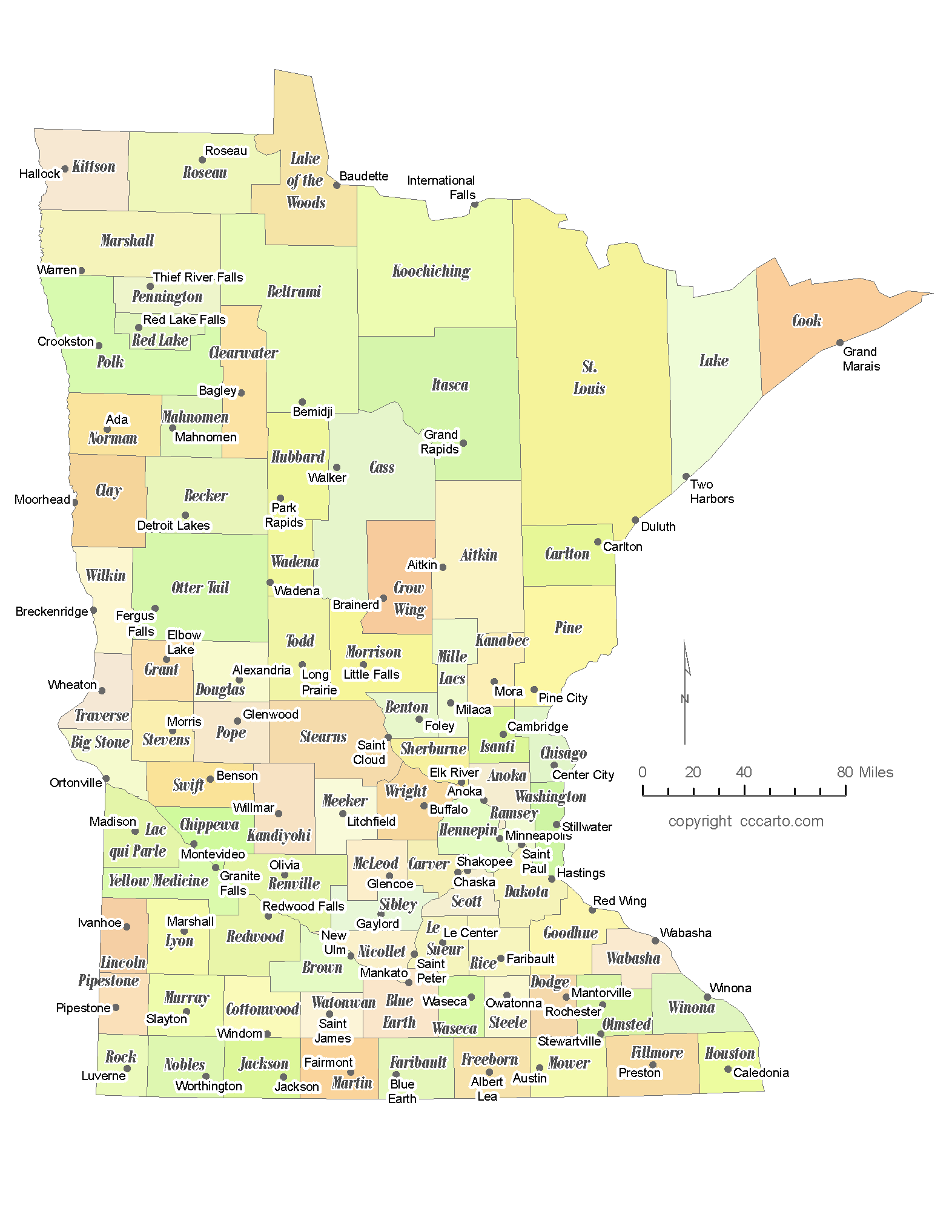 minnesota map of counties State Of Minnesota County Map With The County Seats Cccarto minnesota map of counties