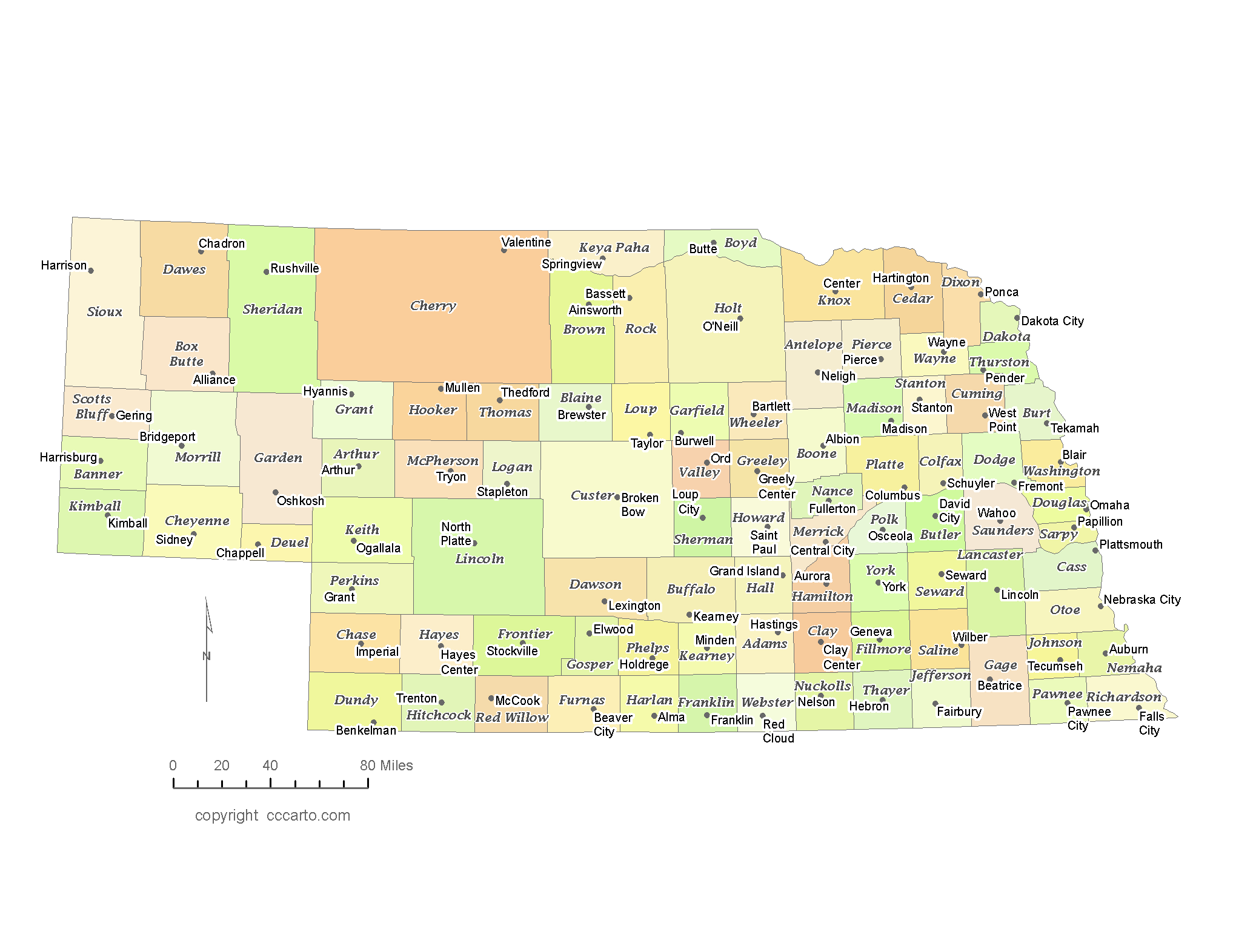 Oneill Nebraska Map.State Of Nebraska County Map With The County Seats Cccarto