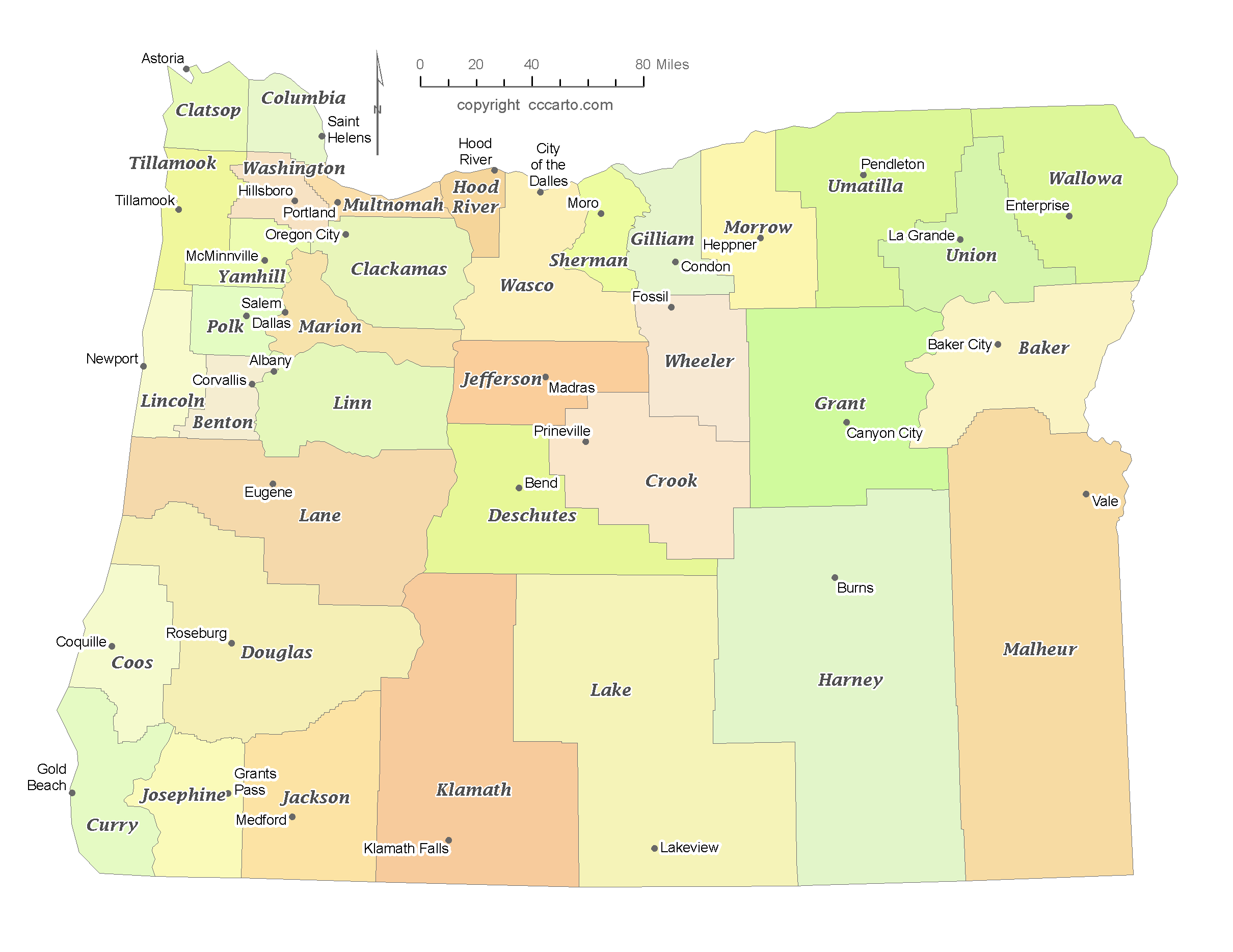 oregon map with counties State Of Oregon County Map With The County Seats Cccarto oregon map with counties