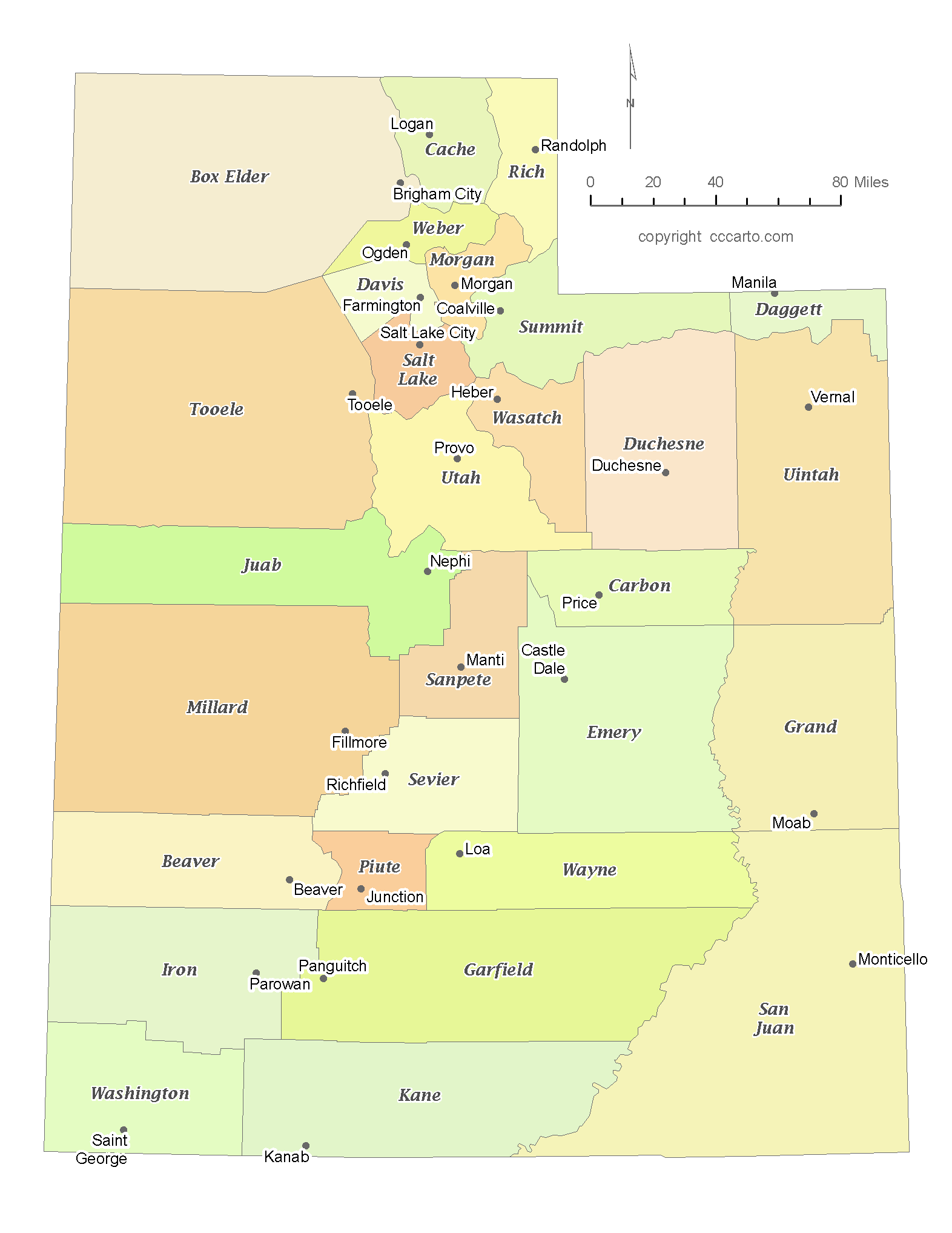 State of Utah County Map with the County Seats - CCCarto on map of summit, utah state counties, map of emery, map of millard, map of education, map of kane, map of tooele, map of north ga, map of utilities, blank map utah counties, map idaho counties, map of wasatch front, map of washington, map of alaska boroughs, map of pennsylvania towns, map of cities, map of states, map of salt lake, map of transportation, map of wayne,