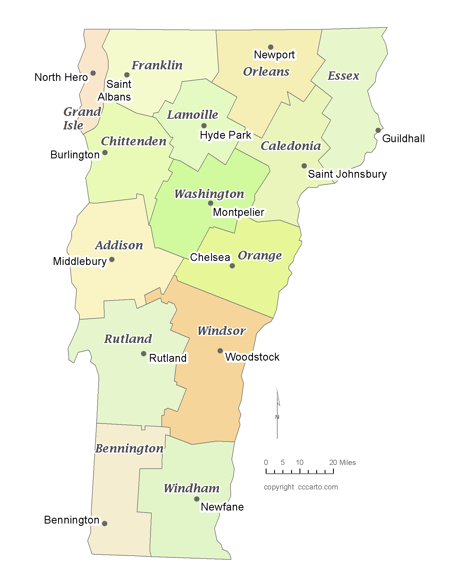 State of Vermont County Map with the County Seats - CCCarto