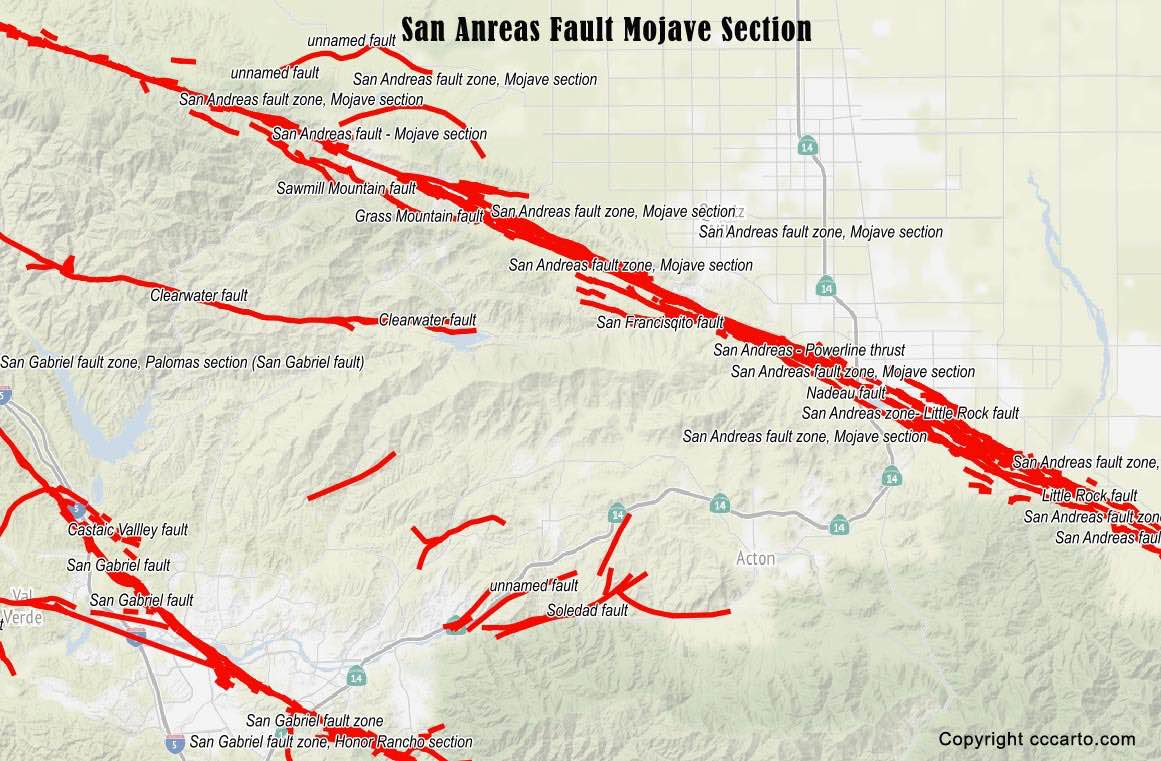 Los Angeles Earthquake Fault Map - Map of san andreas fault line