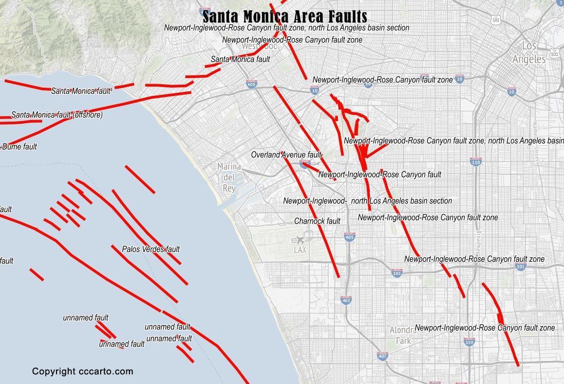 Santa Moncia Area Faults