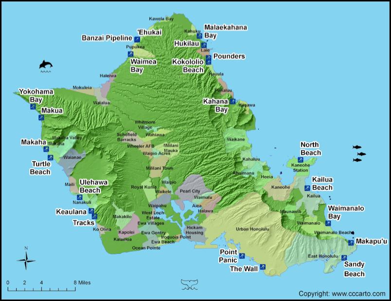 Oahu Beaches Map Oahu Surf Beaches | Oahu Surf Areas