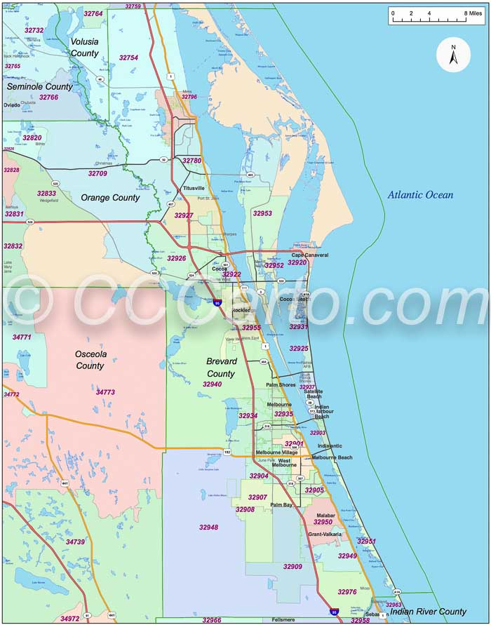 Brevard County FL Zip Code Boundary Map Melbourne FL Zip Codes - Brevward map of us