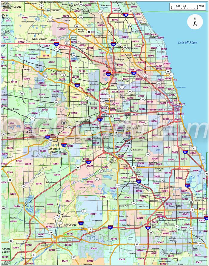 Chicago, IL Zip Code Map   Cook County Zip Codes