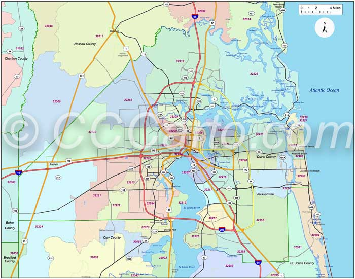 Jacksonville FL Zip Code Boundary Map  Duval County