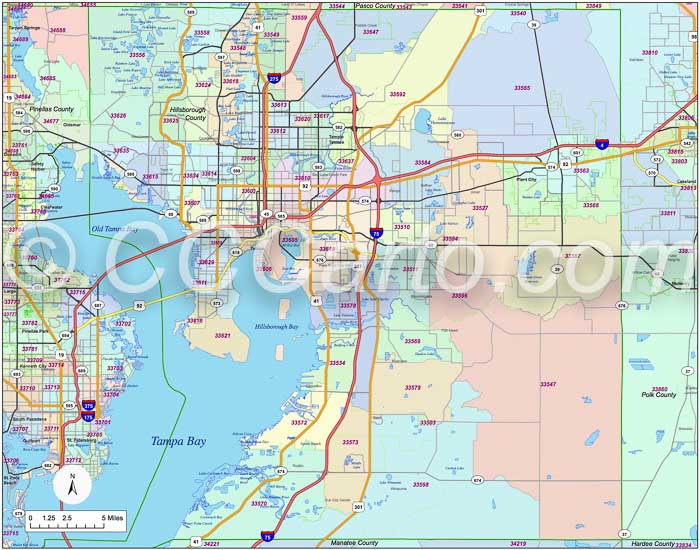 Tampa Zip Code Boundary Map Hillsborough County Zip Codes Boundary Map