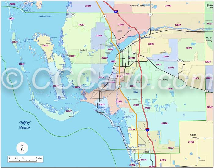 Map Of Florida Zip Codes.Fort Myers Florida Zip Code Boundary Map Lee County Zip Codes