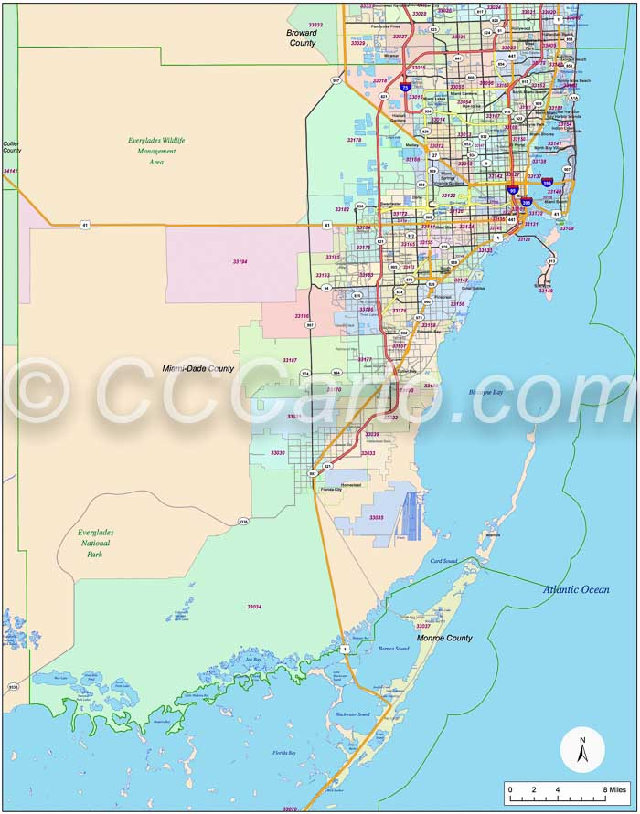 Map Of Florida Zip Codes.Miami Zip Code Boundary Map Miami Dade And Monroe Counties Zip Codes
