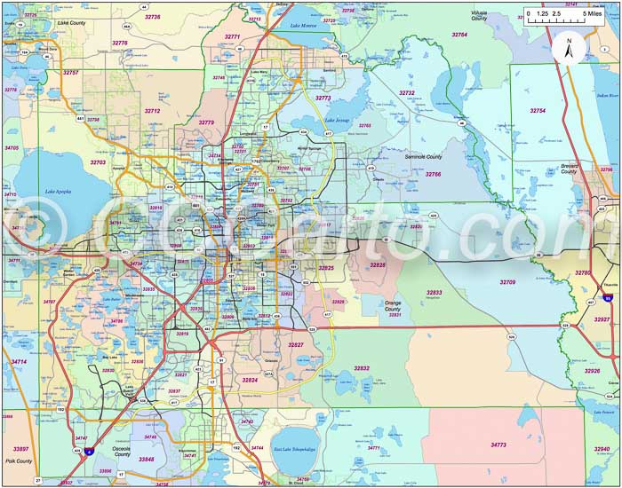 Orlando Fl Zip Code Map Orange County Fl Zip Codes