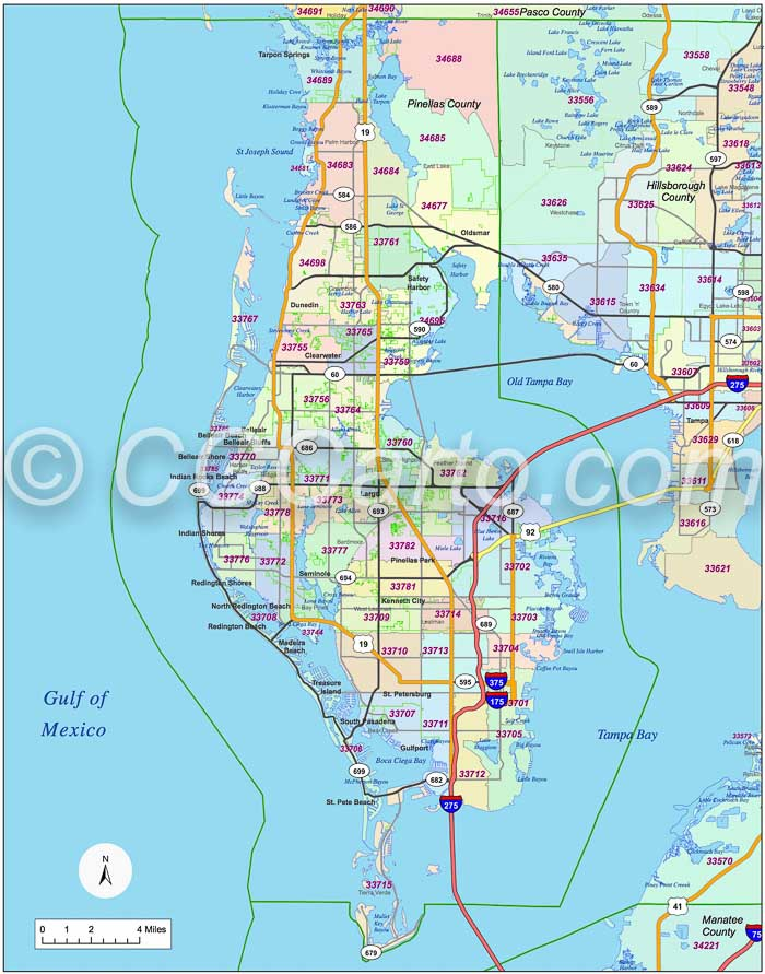 Exhilarating image within printable pinellas county zip code map