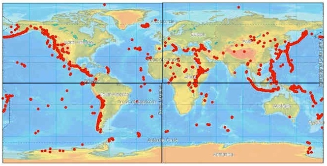 Volcanoes of the world map volcano finder volcano regions of the world gumiabroncs Choice Image