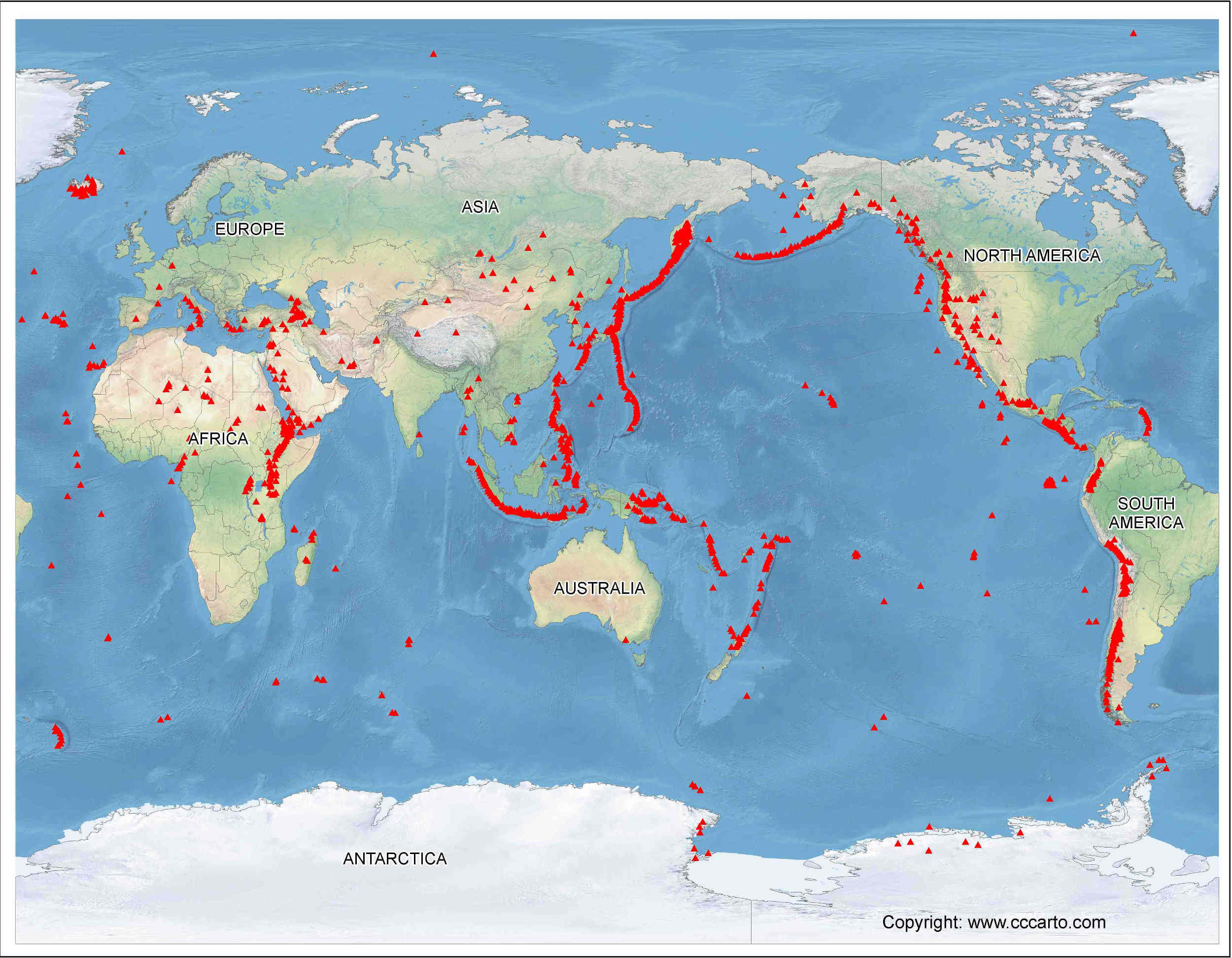 Volcanoes of the World Map   Volcano Finder