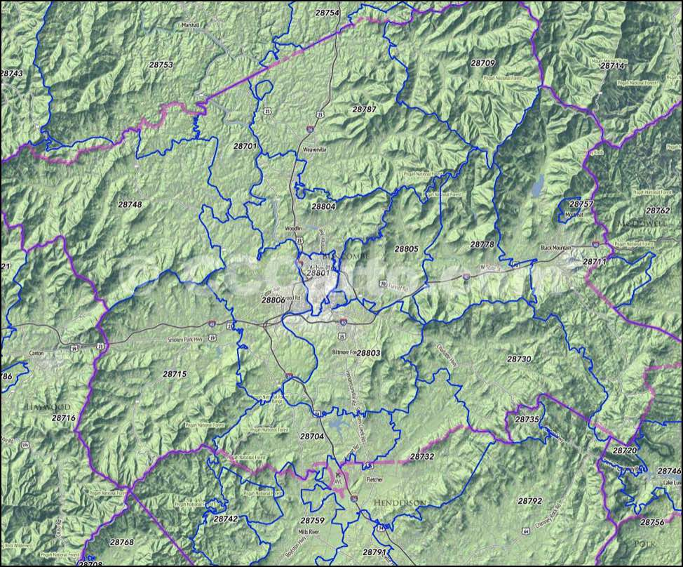 Buncombe County, NC Zip Code Map   Asheville, NC Zip Codes